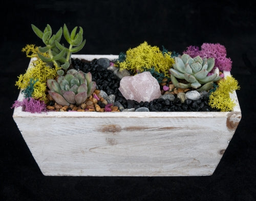 rose quartz wooden container blue beam