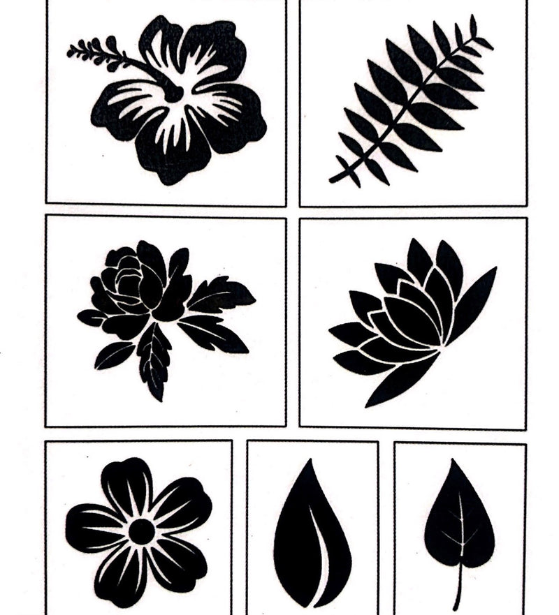 Flower and Leaf Ukulele Stencils