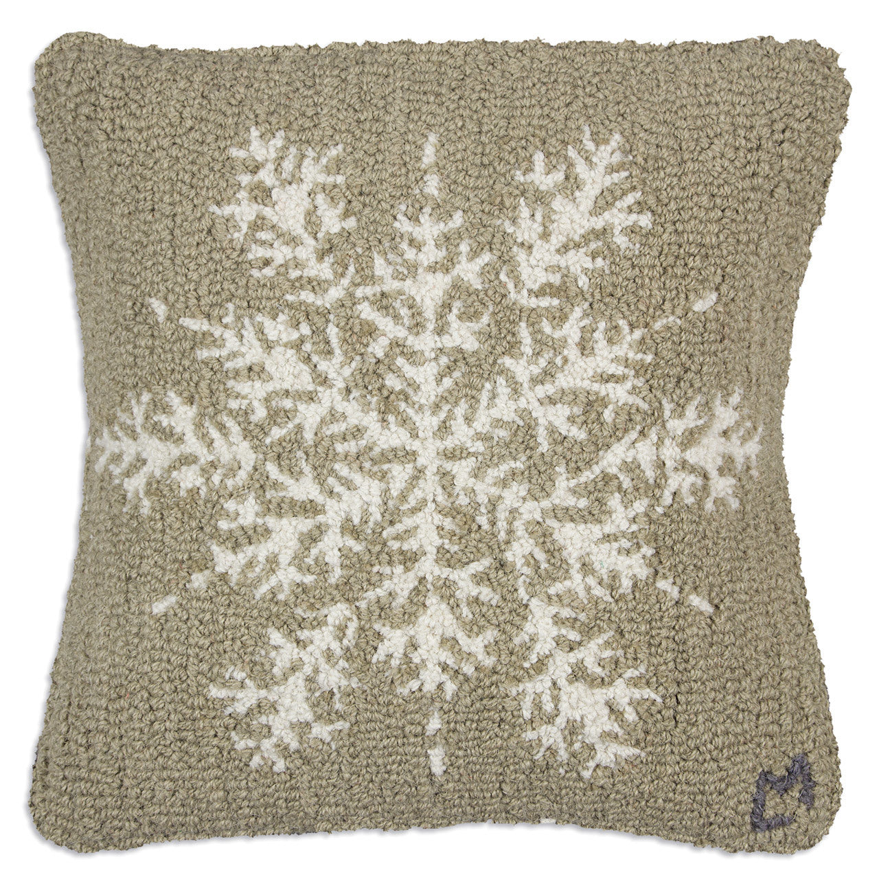 Khaki Snowflake Wool Pillow