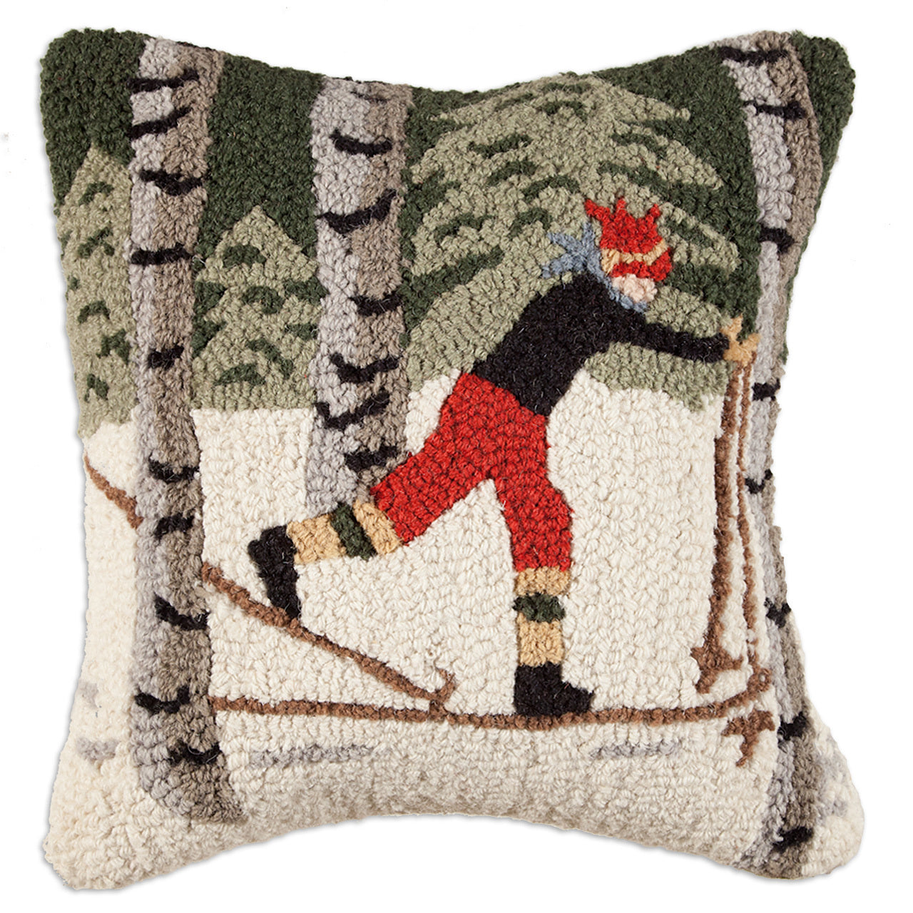 Back Country Skier Wool Pillow