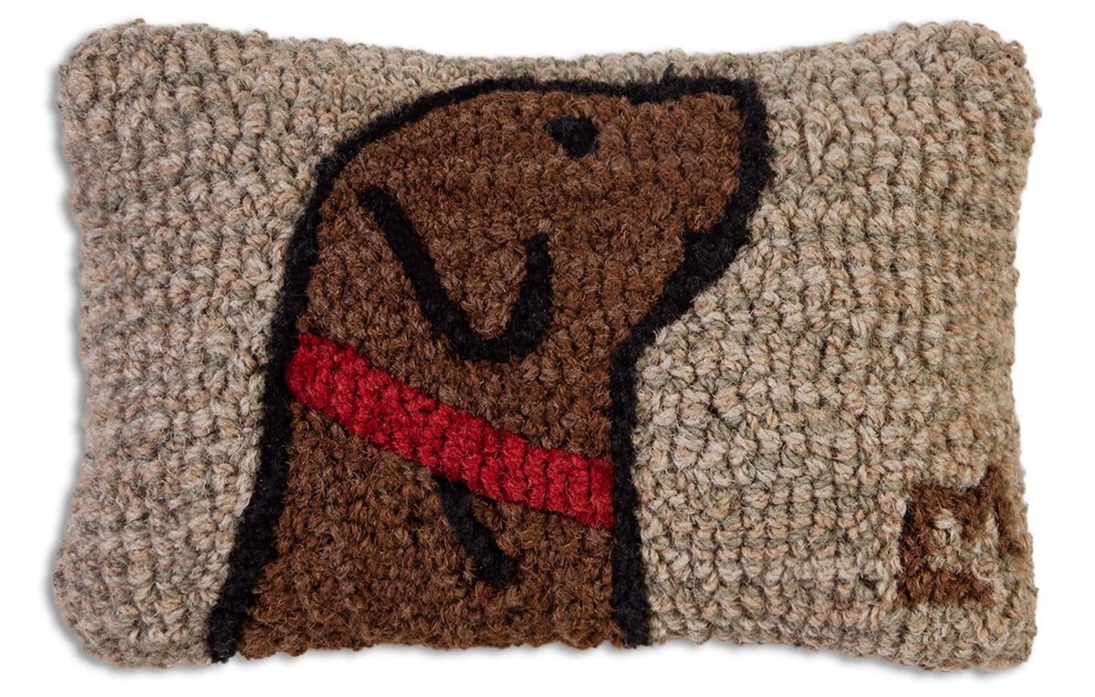 Begging Chocolate Lab Wool Pillow