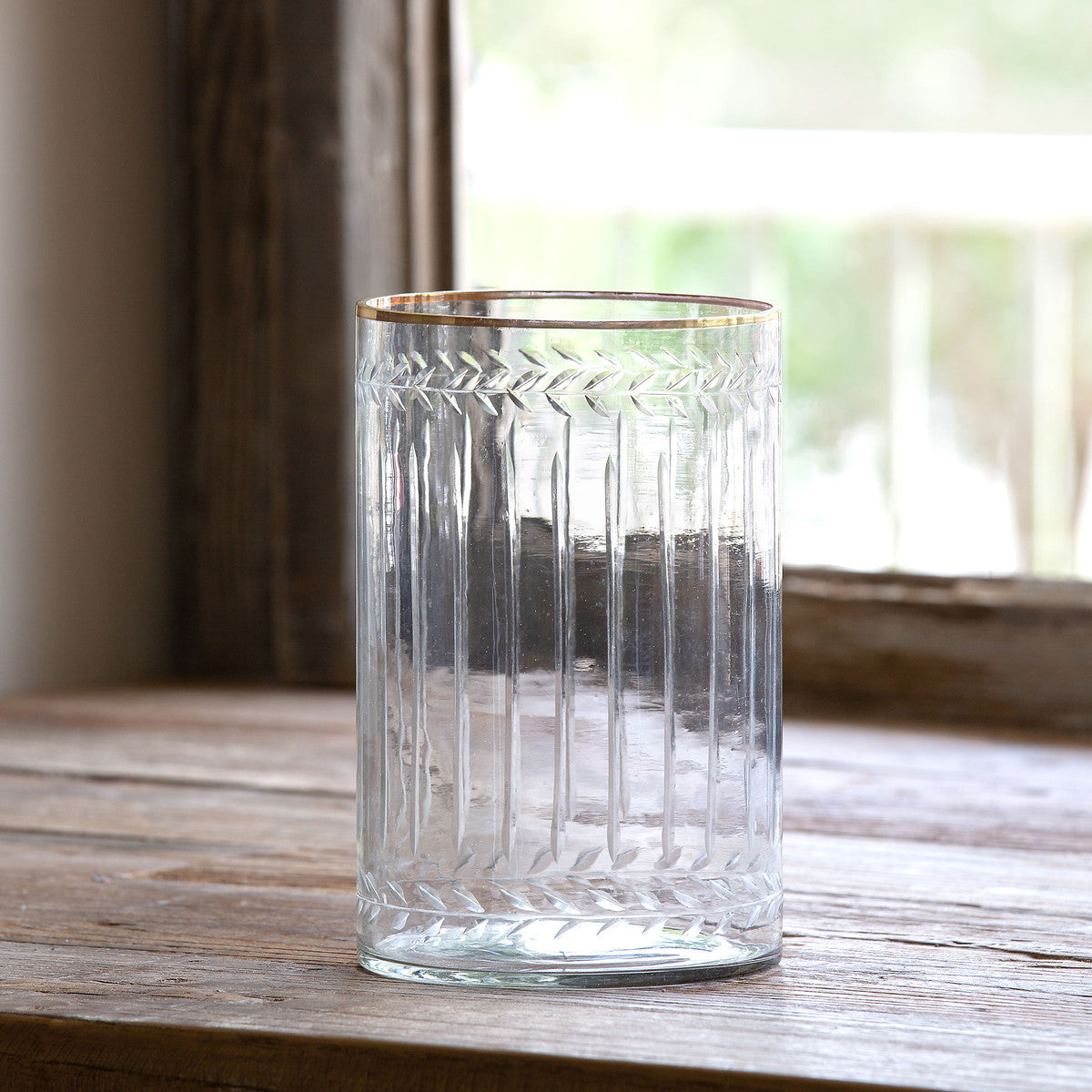 Cut Glass Cylinder with Gold Rim