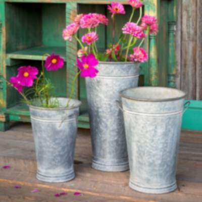 Tin Flower Bucket