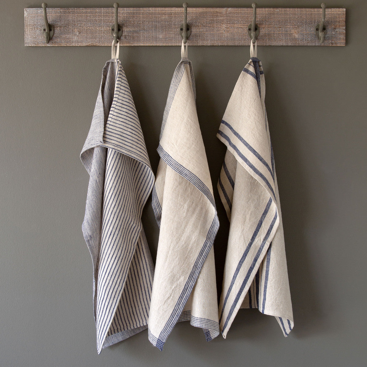 Linen Dish Towels in Navy