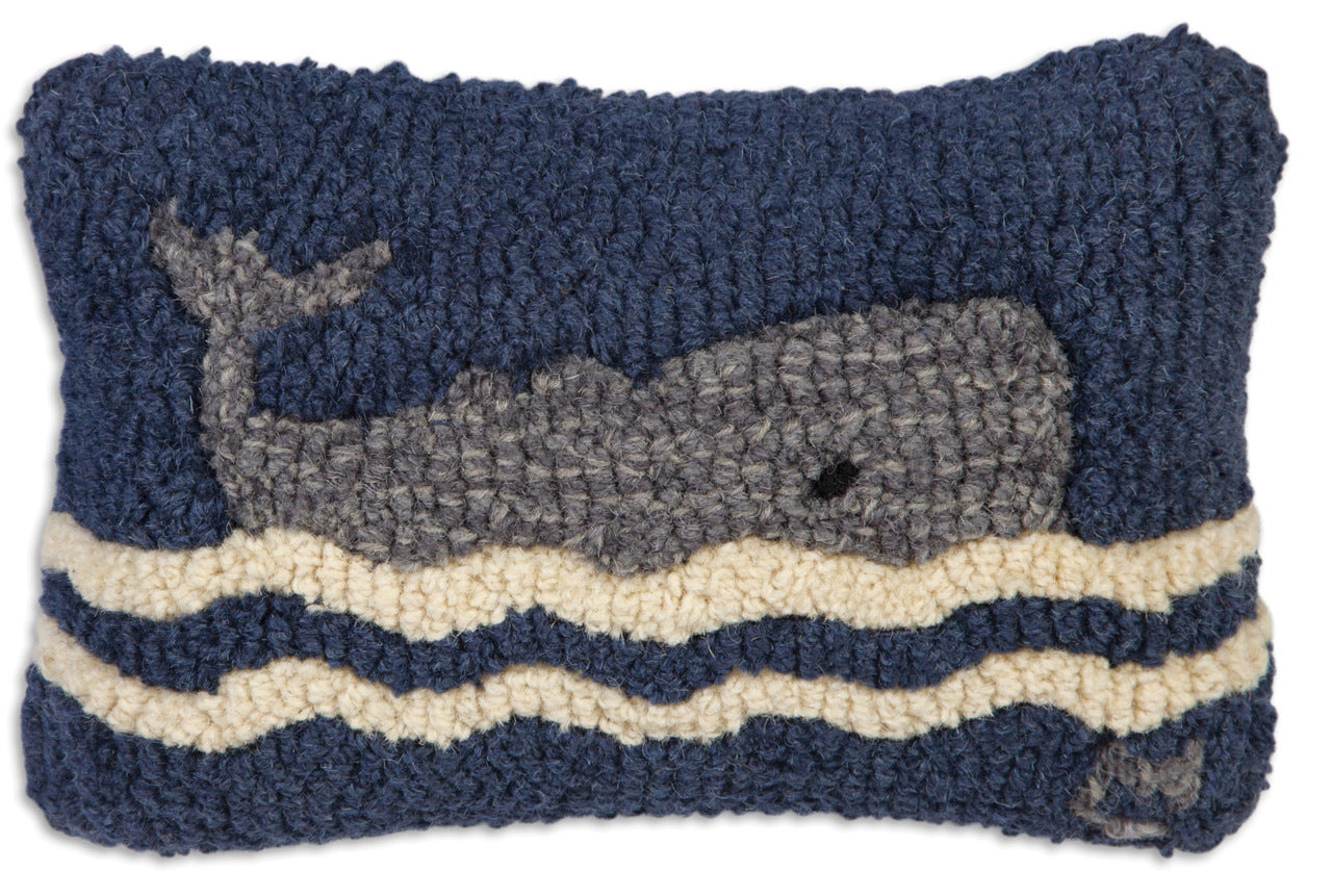 Wavy Whale Wool Pillow