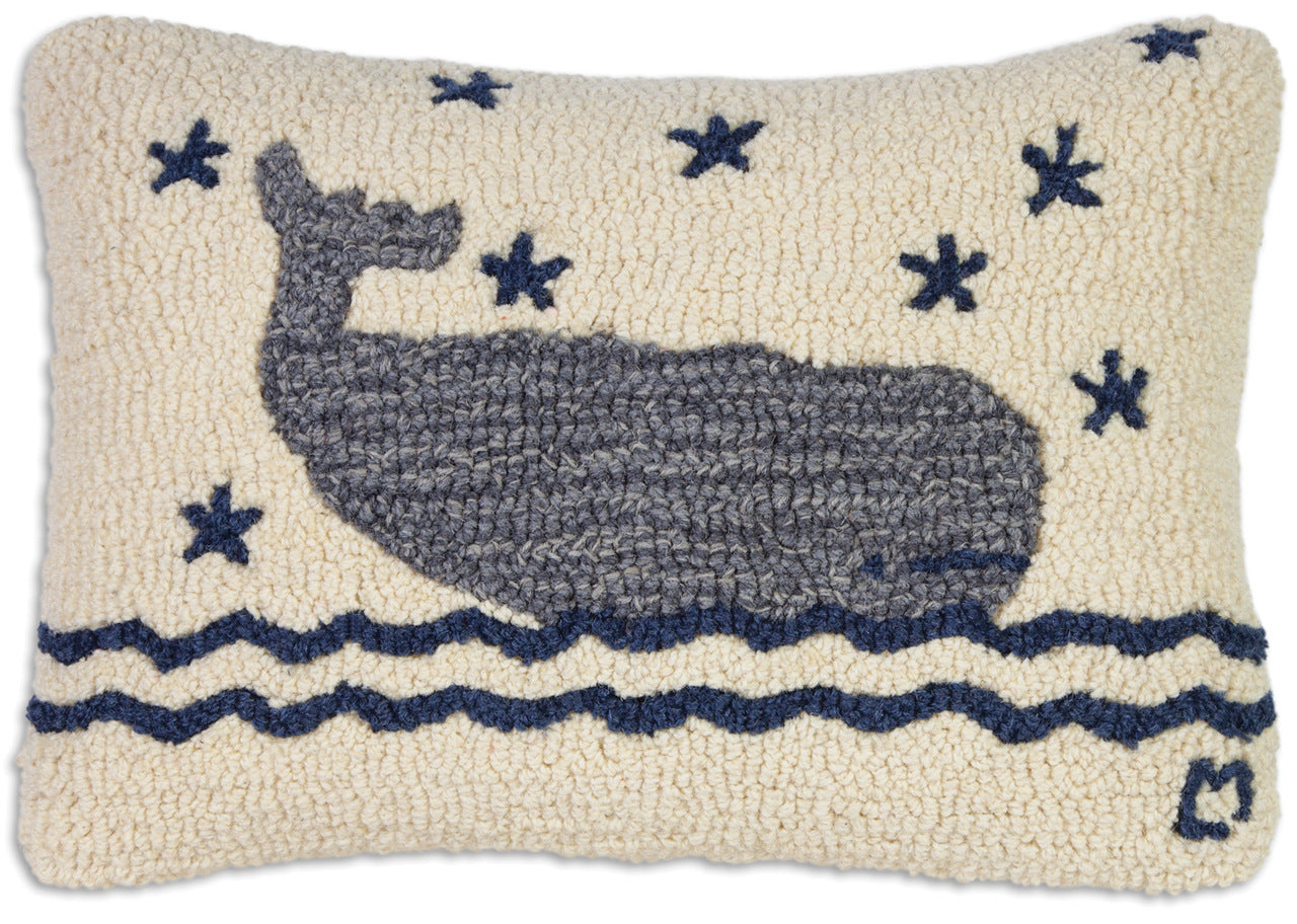 Whale in Water Wool Pillow