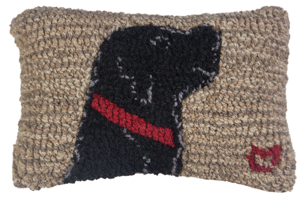Begging Black Lab Wool Pillow
