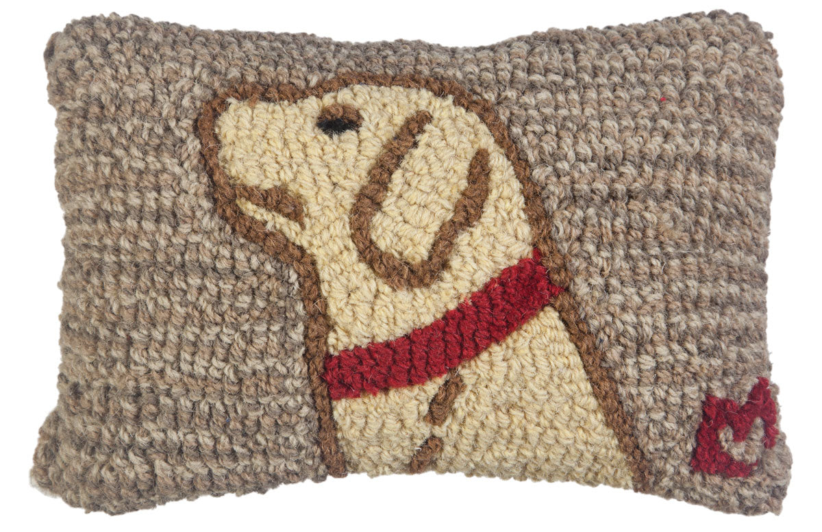 Begging Yellow Lab Wool Pillow