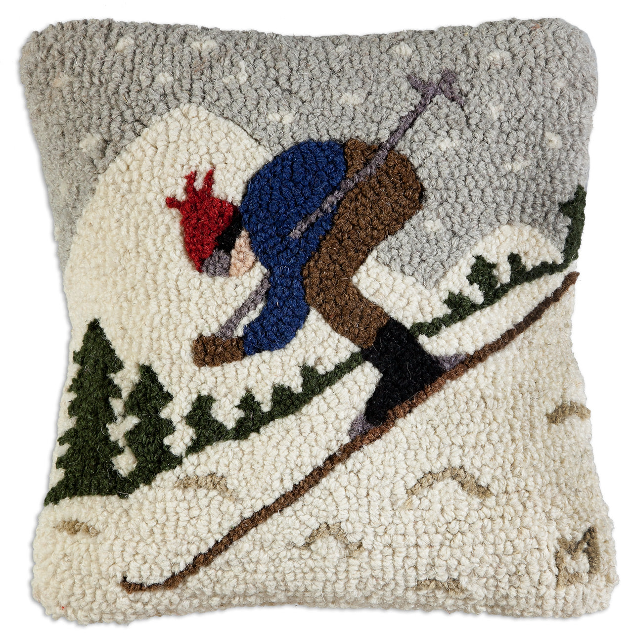 Downhill Skier Wool Pillow