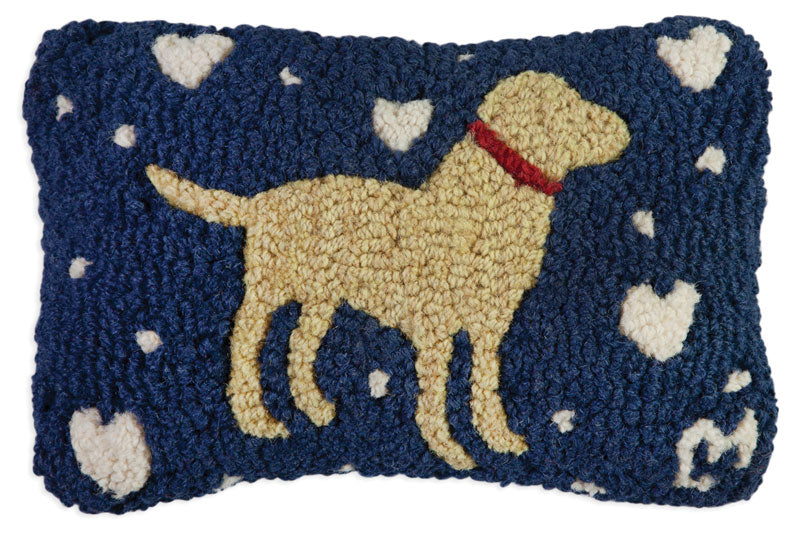 Loving Lab on Blue Wool Pillow