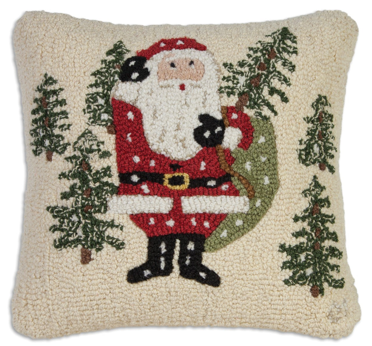 Santa Picks a Tree Wool Pillow