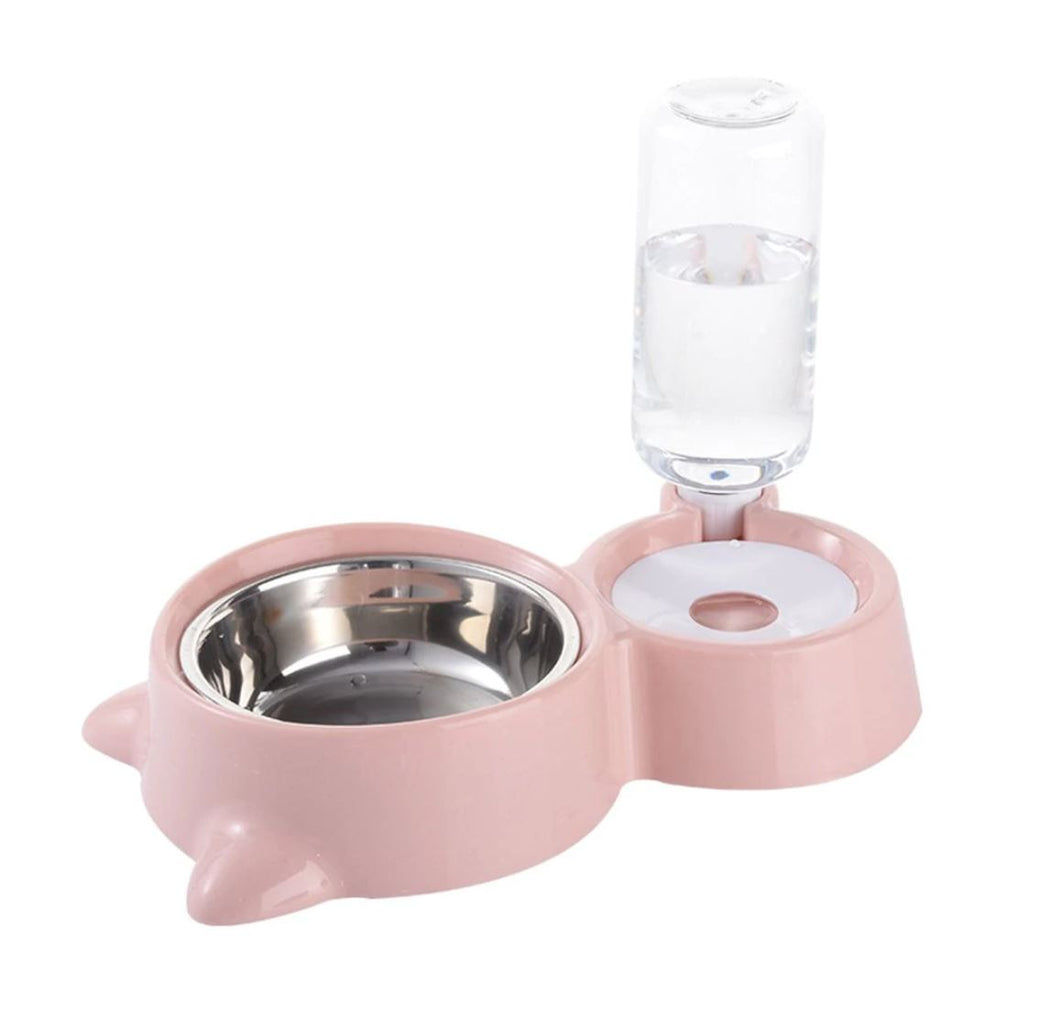 Double Bowl With Automatic Water Dispenser - The Pet Supply