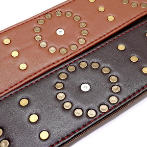Studded Medallion Leather Collar