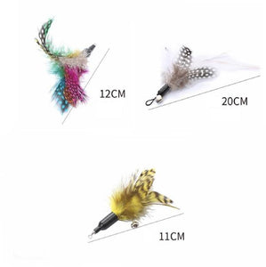 3-Pack Feather Replacements for Wand Teaser - The Pet Supply
