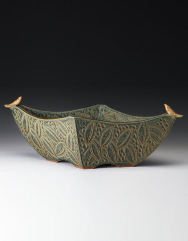 "*SOLD*""FOUR SIDED SAGE BIRD BOWL"" BY JIM & SHIRL PARMENTIER"