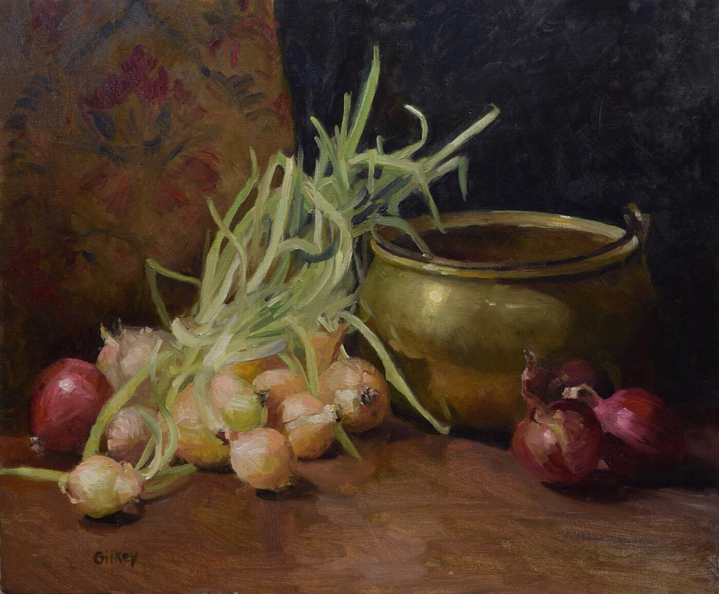 'BRASS POT WITH ONIONS' BY SUE GILKEY