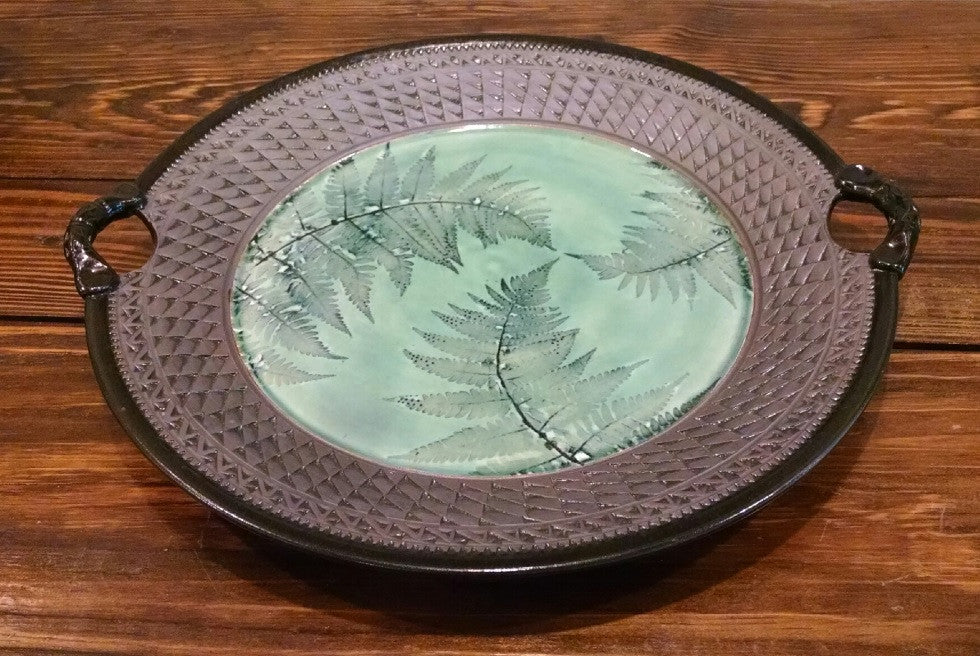 *SOLD* Suzanne Crane, GREEN LEAF PLATTER
