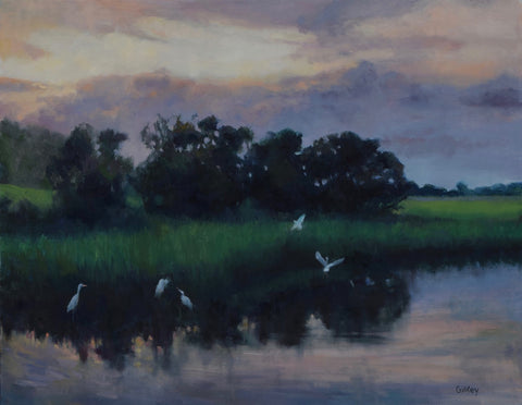"*SOLD* ""EGRETS ON THE MARSH"" BY SUE GILKEY"