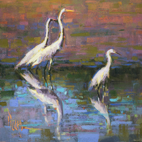 *SOLD* 'EGRETS II' BY ALAIN PICARD