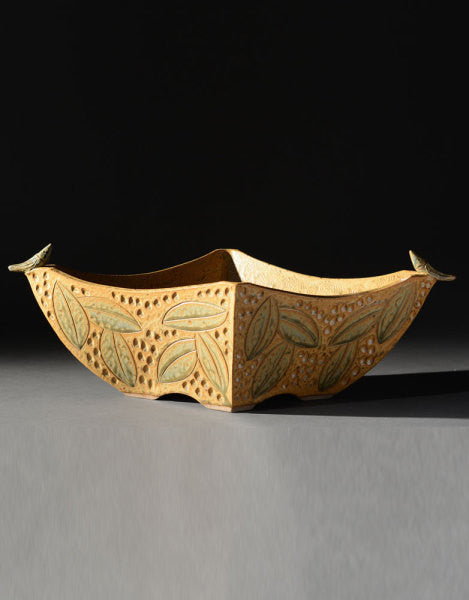 "*SOLD* ""GOLD 4 SIDED BIRD BOWL"" BY JIM & SHIRL PARMENTIER"