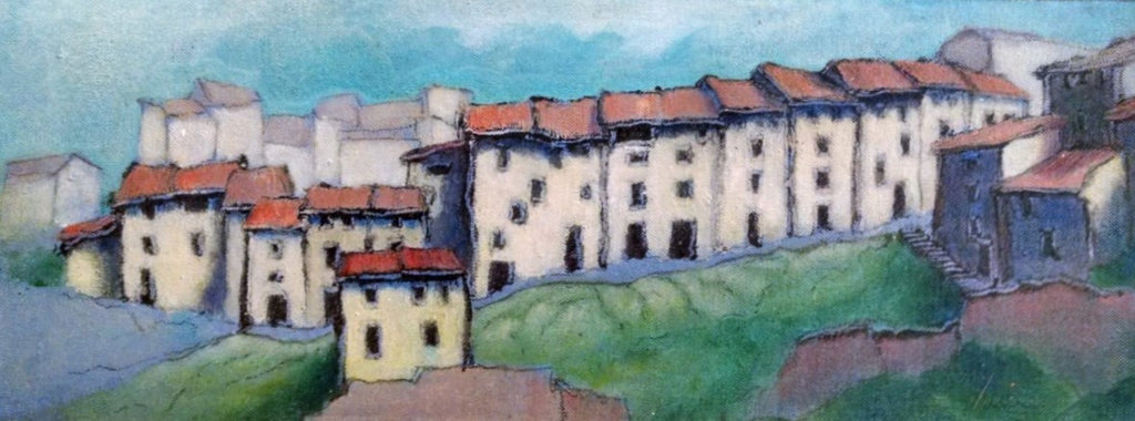 *SOLD 'HOUSES ON A HILLSIDE (TORRE DEL COMPTE) BY ANDY NEWMAN
