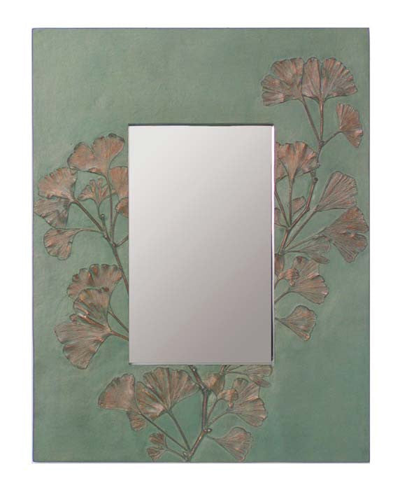 RECTANGULAR GINGKO BRANCH MIRROR BY DEB CHILDRESS