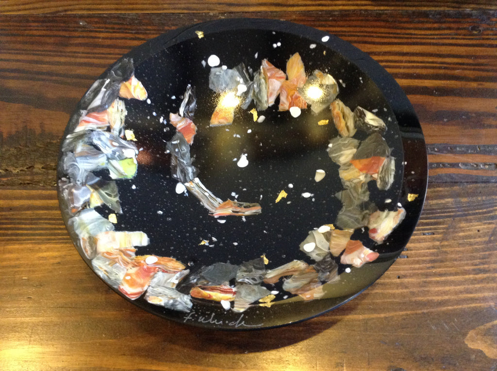 *SOLD* RIVERSTONE SPIRAL BLACK BOWL