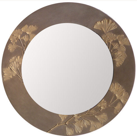 "21"" ROUND GINGKO MIRROR BY DEB CHILDRESS"