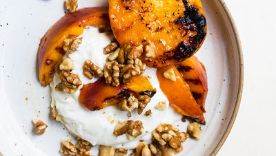 Lord Bergamot Glazed Grilled Peaches with Burrata