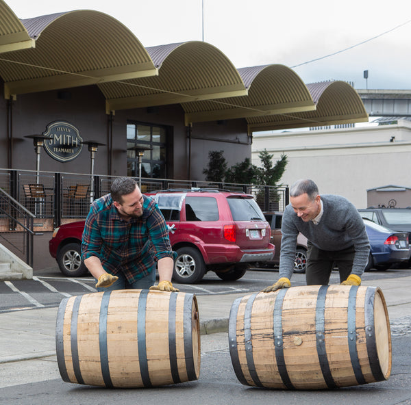 Rolling whiskey barrel