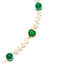 Load image into Gallery viewer, Green Onyx Freshwater Pearl Necklace - 18k gold plated 925 sterling silver
