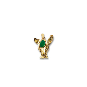Green Onyx Deer Pendant With Chain- 18K gold plated 925 Sterling Silver
