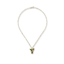 Load image into Gallery viewer, Green Onyx Deer Pendant With Chain- 18K gold plated 925 Sterling Silver