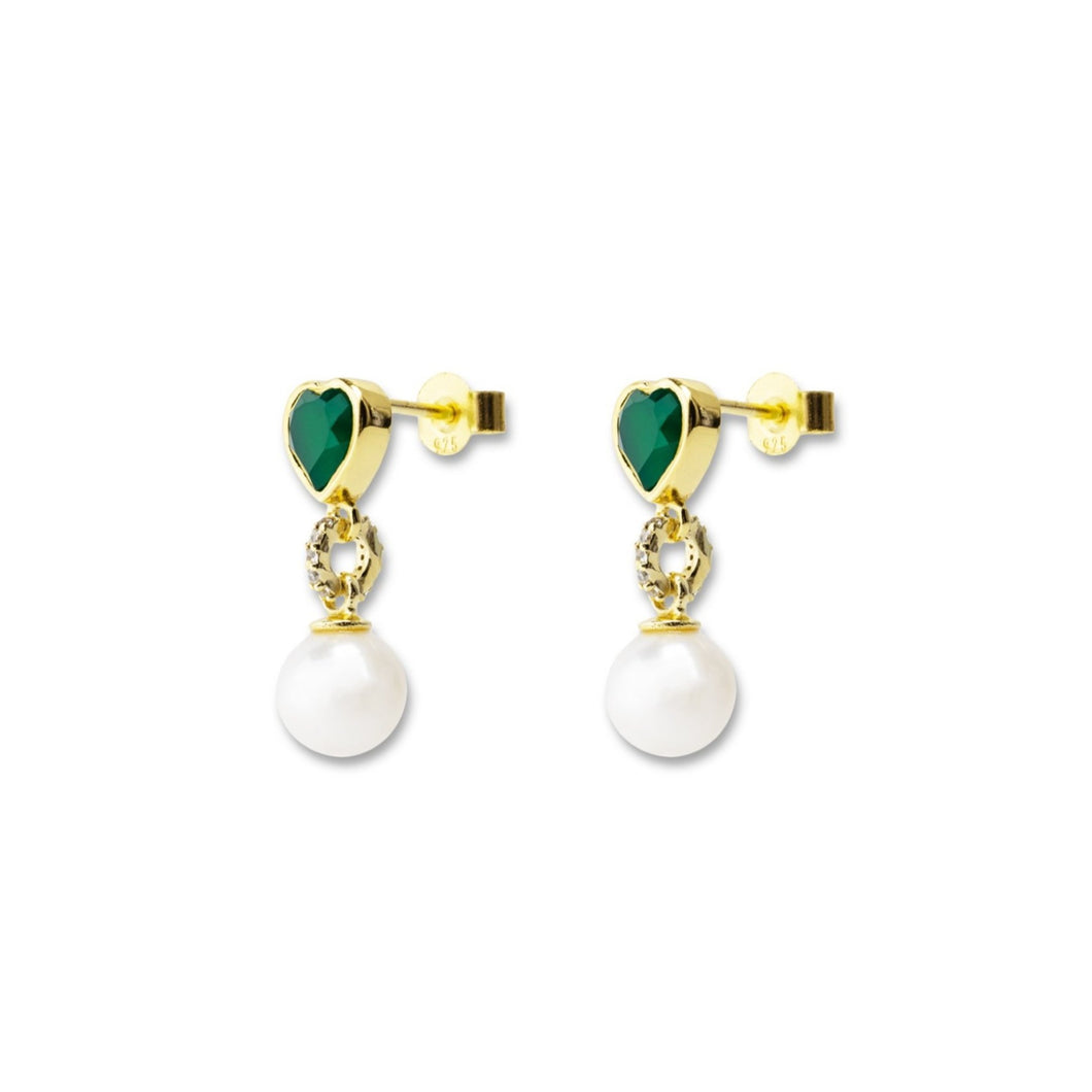 Green Onyx Freshwater Pearl Earring Pair - 18k gold plated 925 Sterling Silver