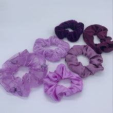 Load image into Gallery viewer, Purple Lotus Scrunchie Set