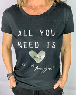 "T-Shirt ""ALL YOU NEED IS LOVE AND CHAMPAGNER """