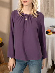 Purple Vintage Crew Neck Shirts & Tops
