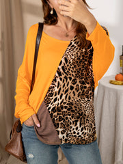 V Neck Long Sleeve Leopard Colour Block Shirts & Tops