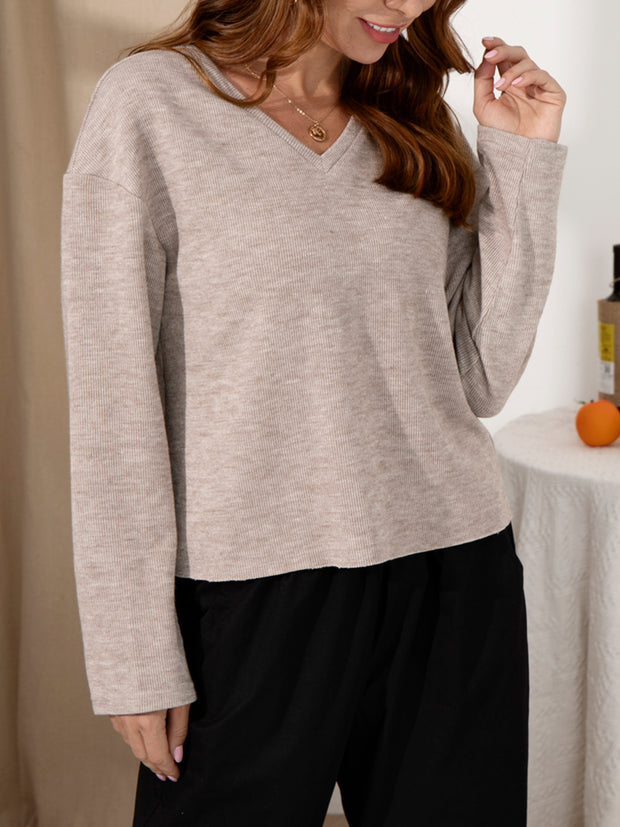 Long Sleeve Plain Knitted Sweatshirt