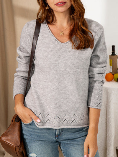 Long Sleeve Plain Wool Crew Neck Sweater