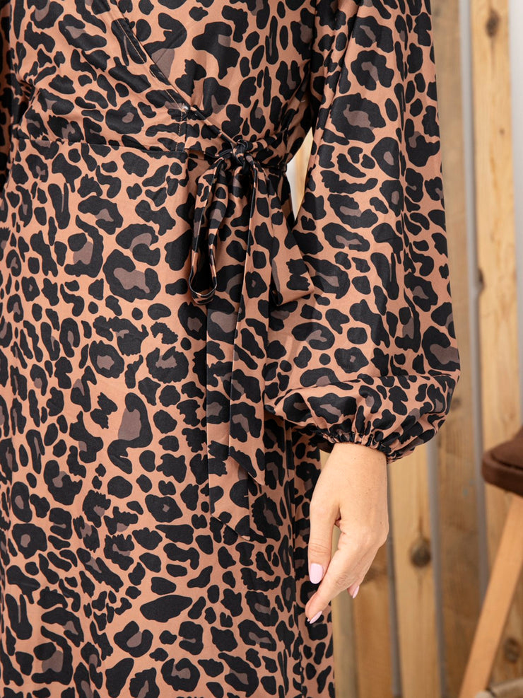 V Neck Leopard Printed Casual Wrap Dress