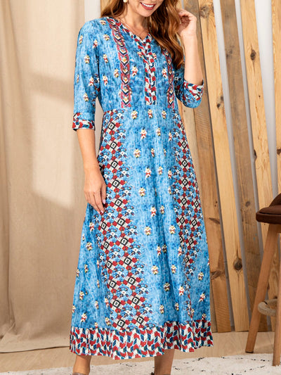 Long Sleeve Cotton-Blend Printed V Neck Dresses