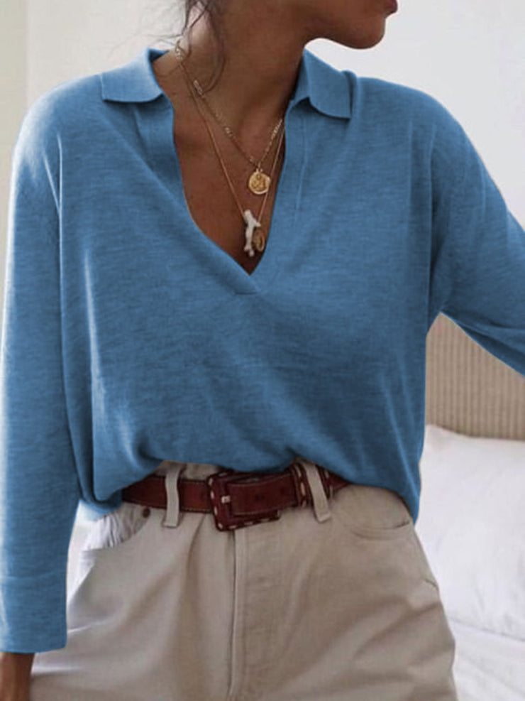 Long Sleeve Solid Cotton Shirt Collar Tops