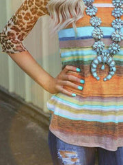 Multicolor Holiday Crew Neck  Leopard Shirts & Tops