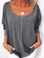 Gray Scoop Neckline Casual Solid Cotton-Blend Shirts & Tops