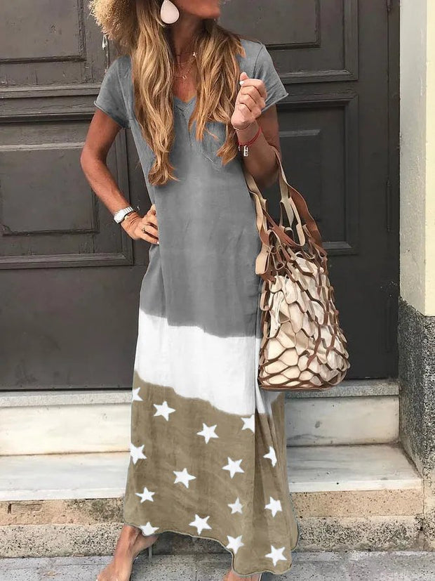 Casual Cotton-Blend V Neck Dresses