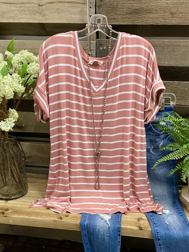 Casual Short Sleeve Striped Shirts & Tops