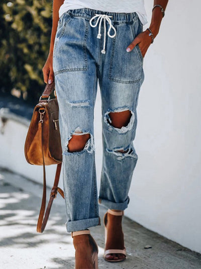 Patch Pockets Casual Denim Pants