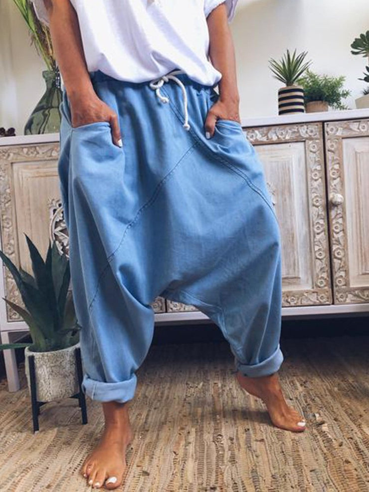 Cotton-Blend Patchwork Vintage Pants