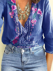 Gray V Neck Floral Long Sleeve Color-Block Blouses